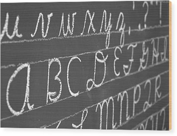 Letters On A Chalkboard Wood Print
