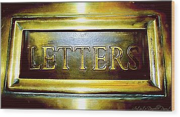 Letters Trough The Door Wood Print