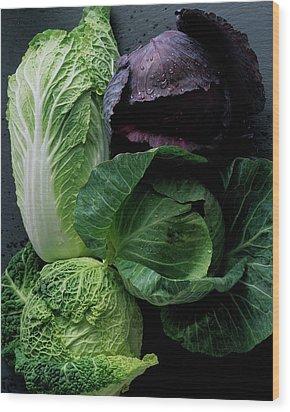 Lettuce Wood Print by Romulo Yanes