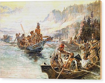 Lewis And Clark On The Lower Columbia  Wood Print by Charles Russell