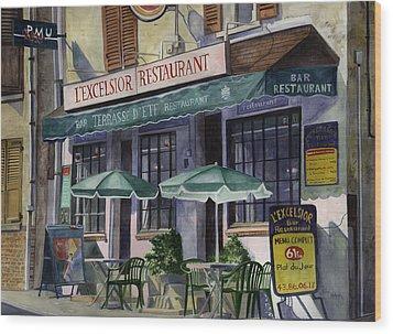 L'excelsior Cafe Wood Print by Terri  Meyer