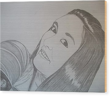 Wood Print featuring the drawing Lexi by Justin Moore