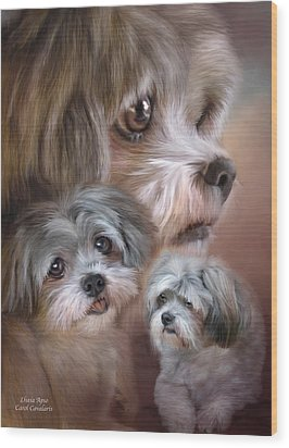 Wood Print featuring the mixed media Lhasa Apso by Carol Cavalaris