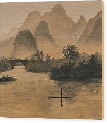 Li River China Wood Print by Darice Machel McGuire