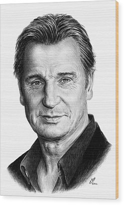Liam Neeson Wood Print by Andrew Read