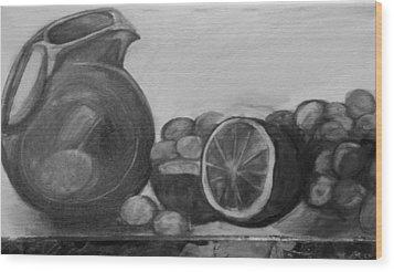 Libations Bw Wood Print