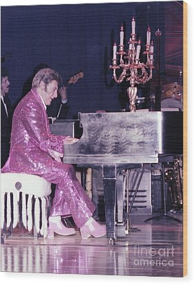 Liberace Piano Candelabra 1970 - We Will Be Seeing You Lee Liberace Wood Print by Wayne Nielsen
