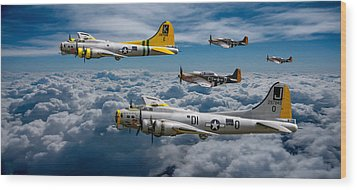 Liberty Belle And Fuddy Duddy With Mustangs Wood Print by Ken Brannen