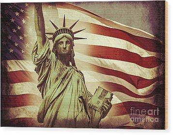 Liberty Wood Print by Az Jackson