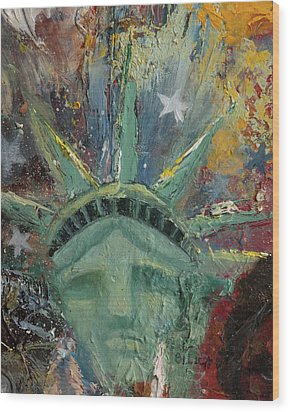 Liberty Breaking Out Wood Print by Trish Bilich