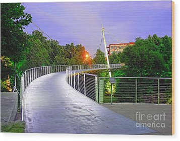 Liberty Bridge In Downtown Greenville Sc At Sunrise Wood Print