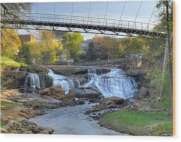 Liberty Bridge In Downtown Greenville Sc  Falls Park Wood Print