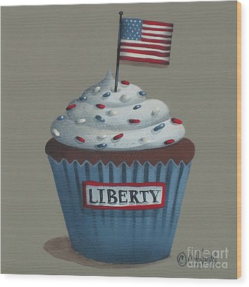 Liberty Cupcake Wood Print by Catherine Holman