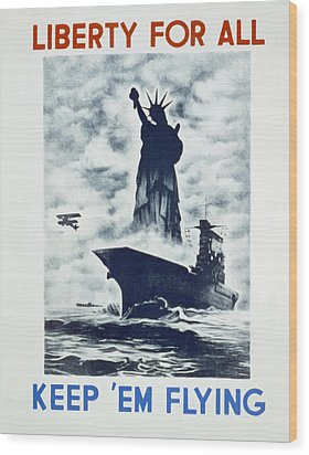 Liberty For All Wood Print by american Classic Art