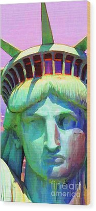 Liberty Head Painterly 20130618 Long Wood Print by Wingsdomain Art and Photography