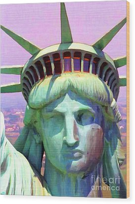 Liberty Head Painterly 20130618 Wood Print by Wingsdomain Art and Photography