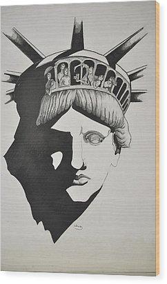 Liberty Head With People Wood Print by Glenn Calloway
