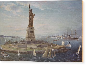 Liberty Island New York Harbor Wood Print by Fred Pansing