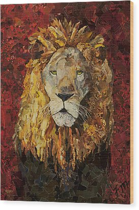 Liberty Lion Wood Print by Claire Muller