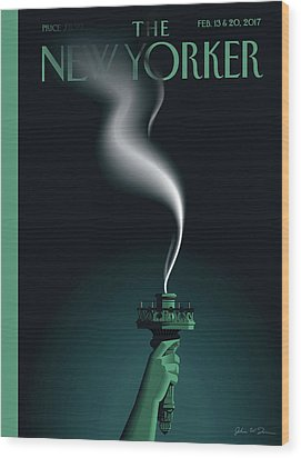 Liberty's Flameout Wood Print by John W. Toma