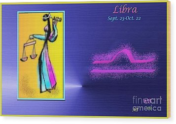 Wood Print featuring the digital art Libra by The Art of Alice Terrill
