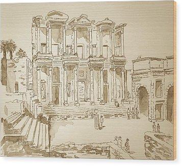 Library At Ephesus II Wood Print