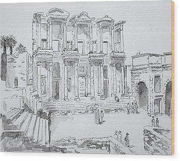 Library At Ephesus Wood Print by Marilyn Zalatan