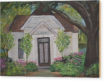 Wood Print featuring the painting Library by Debbie Baker