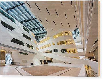 Library Interior 2  Zaha Hadid Wu Campus Vienna  Wood Print