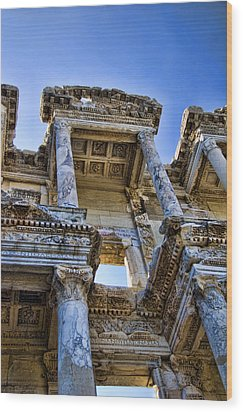 Library Of Celsus Wood Print by David Smith