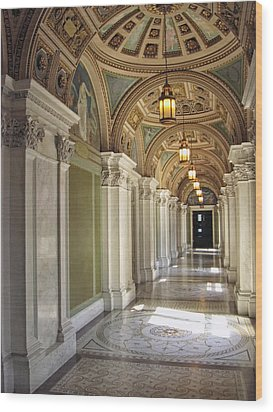 Library Of Congress Hallway Washington Dc Wood Print