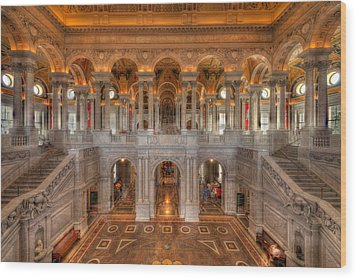 Library Of Congress Wood Print by Steve Gadomski