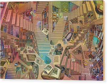 Library Of The Mind Art Wood Print by Garry Walton