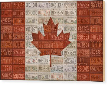 License Plate Art Flag Of Canada Wood Print