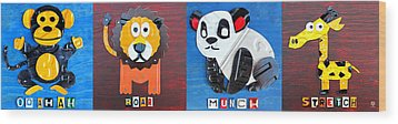 License Plate Art Jungle Animals Series 1 Wood Print by Design Turnpike