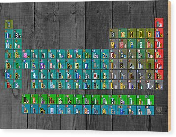 License Plate Art Recycled Periodic Table Of The Elements By Design Turnpike Wood Print by Design Turnpike