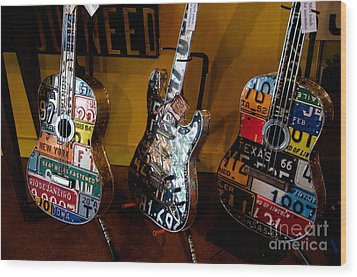 Wood Print featuring the photograph License Plate Guitars by Vinnie Oakes