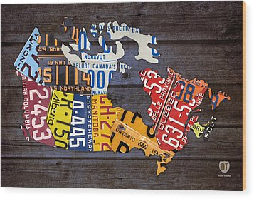 License Plate Map Of Canada Wood Print