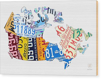 License Plate Map Of Canada On White Wood Print by Design Turnpike