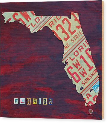 License Plate Map Of Florida By Design Turnpike Wood Print by Design Turnpike