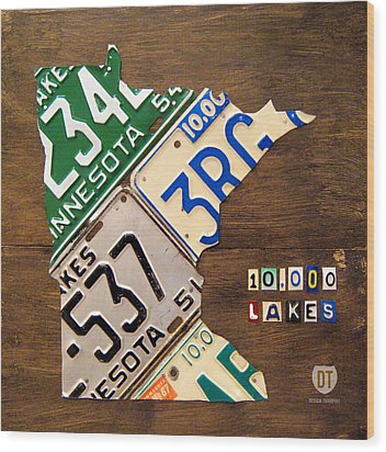 License Plate Map Of Minnesota By Design Turnpike Wood Print by Design Turnpike