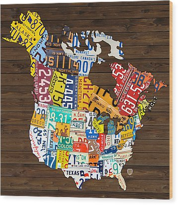 License Plate Map Of North America - Canada And United States Wood Print by Design Turnpike