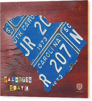 License Plate Map Of South Carolina By Design Turnpike Wood Print by Design Turnpike
