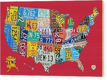 License Plate Map Of The United States On Bright Red Wood Print by Design Turnpike