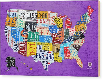 License Plate Map Of The United States On Vibrant Purple Slab Wood Print by Design Turnpike