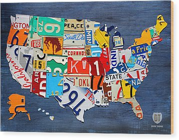 License Plate Map Of The United States - Small On Blue Wood Print by Design Turnpike