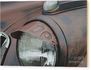 Wood Print featuring the photograph License Tag Eyebrow Headlight Cover  by Wilma  Birdwell