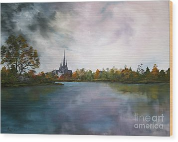 Lichfield Catherdral A View From Stowe Pool Wood Print by Jean Walker