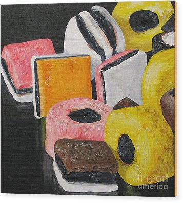 Licorice Candy Wood Print by Nancie Johnson