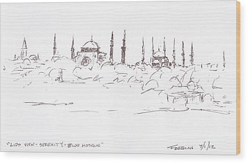 Lido View Serenity Blue Mosque Wood Print by Valerie Freeman